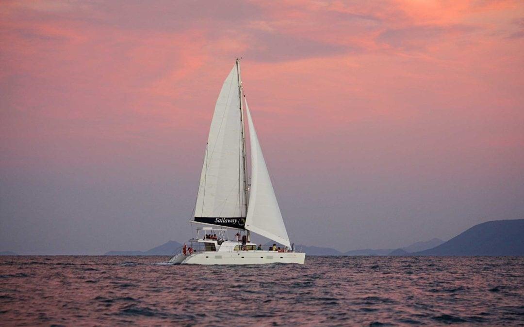 Sailaway V sailing at sunset